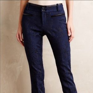 Anthro Cartonnier Charlie Ankle Zip Trousers Navy
